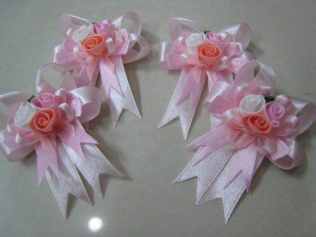 set of 4 RIBBONS BOWS GIFT ART CRAFT PINK ROSE PIN BROOCH DECORATION wedding corsage
