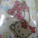 HELLO KITTY K HAND strap charm CELL PHONE DIGITAL CAMERA IPOD I-POD accessory PURSE ZIPPER KEYCHAIN