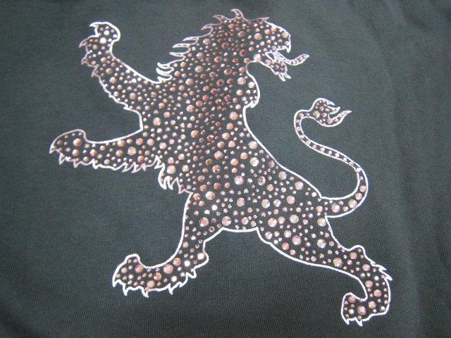 hood EXPRESS silver PRINT DIAMOND LION gray SWEATER SWEATSHIRT CLOTHES WOMEN'S LARGE L CLOTHING