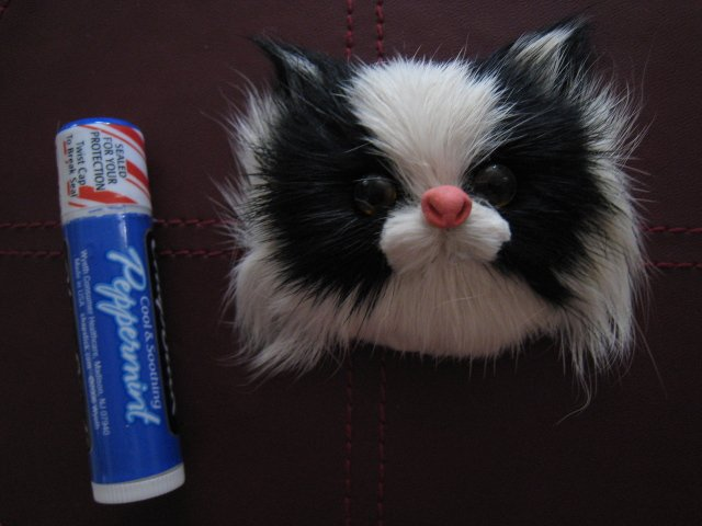 BLACK WHITE CAT MAGNET FURRY ANIMAL FIGURINE COLLECTIBLE EYES