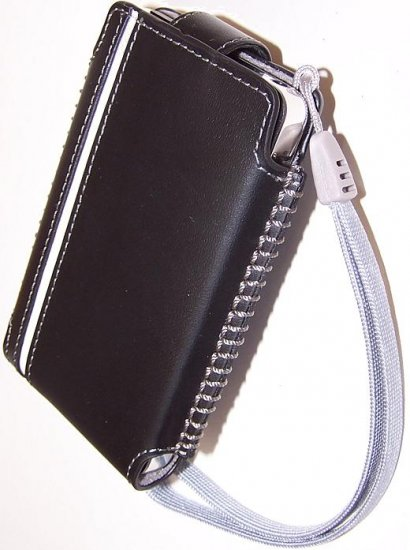 belkin LEATHER LIKE IPOD CELL PHONE HOLSTER CASE BELT CLIP ACCESSORY BLACK WHITE ACCENT