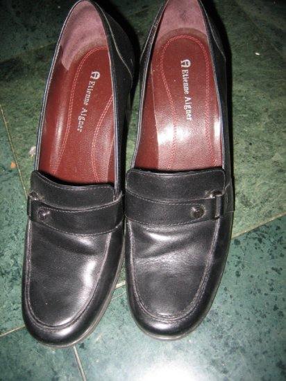 WOMEN'S LOAFERS BLACK LEATHER AETIENNE AIGNER SZ 8.5 SHOES OFFICE DRESS HEELS