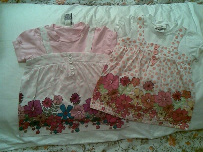 BABY GIRL DRESS CLOTHES 18T FLOWER CUTE PINK ORANGE LOT 2