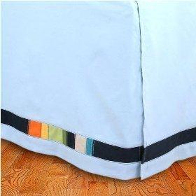 NAUTICA blue rainbow COTTON BEDSKIRT BED SKIRT BEDDING BED SHEET KING HOME DECOR BEDROOM