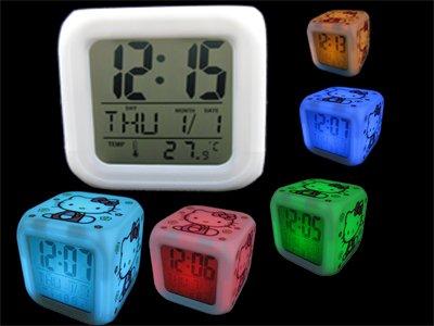 Hello kitty LED light Change 7 Color Digital Alarm Clock AG13 electronics home office gift birthday