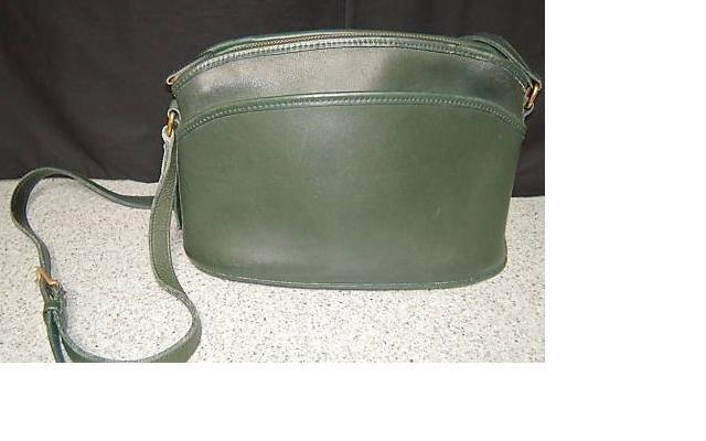 AUTHENTIC vintage FOREST green leather COACH SHOULDER BAG purse #083109A