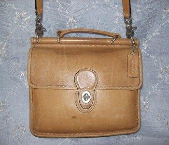 AUTHENTIC vintage WILLIS STATION MESSENGER CAMEL TAN leather COACH SHOULDER BAG purse #092709A