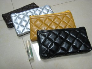 black COIN PURSE WALLET LEATHER LIKE cushion TEXTURE phone case WOMEN'S ACCESSORY CHECKER