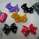 DOG STRAWBERRY BOW POLCA DOTS LOT 2 HAIRCLIP HAIR CLIP ACCESSORY WOMEN'S GIRL JUNIOR FASHION