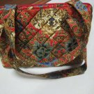 FASHION FABRIC HANDBAG BAG PURSE PATTERN BATIK RED FLOWER PRINT ART WOMEN'S BASKET STYLE BOW