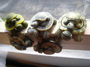 turtle mom & baby magnet clay figurine decorative collectible fridge toy child gift