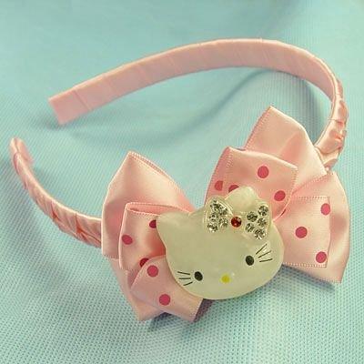 PINK Hello Kitty Hair Band Headband Bow diamond polca dot girls accessory clothing gift children