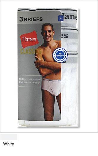 L Large 36 38 HANES Mens Classics White Brief 3 Pack men's accessory underwear clothing cotton
