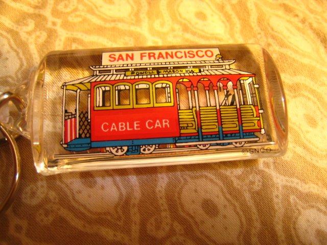 A - SAN FRANCISCO cable car PLASTIC CLEAR KEYCHAIN SOUVENIR ACCESSORY COLLECTIBLE DECORATIVE