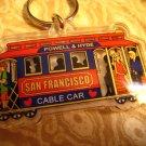 B - SAN FRANCISCO cable car PLASTIC CLEAR KEYCHAIN SOUVENIR ACCESSORY COLLECTIBLE DECORATIVE