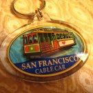 C - SAN FRANCISCO cable car PLASTIC CLEAR KEYCHAIN SOUVENIR ACCESSORY COLLECTIBLE DECORATIVE