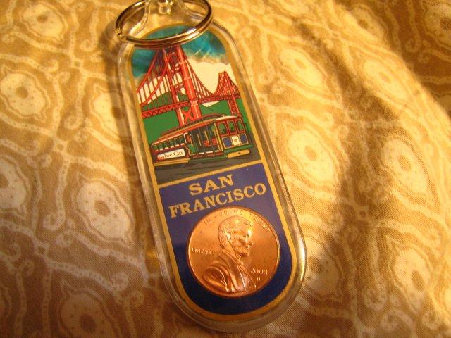 E - LUCKY PENNY SAN FRANCISCO cable car bridge KEYCHAIN SOUVENIR ACCESSORY COLLECTIBLE DECORATIVE