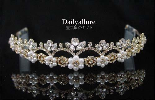 WEDDING BRIDAL CRYSTAL GOLD-PLATED TIARA HEADBAND women's accessory
