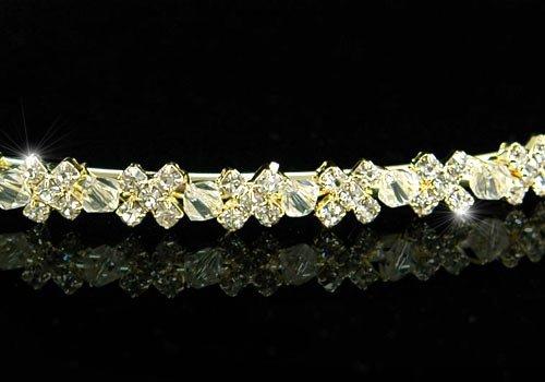 B WEDDING BRIDAL Clear Crystal Beads Gold Plated Headband TIARA HEADBAND women's accessory