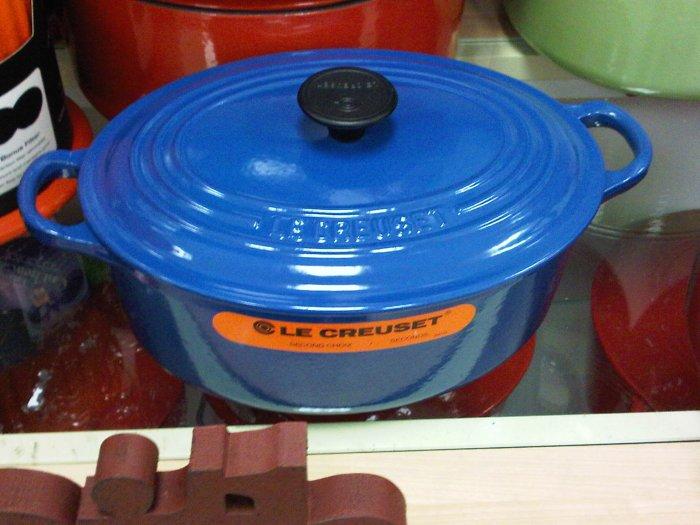 blue Le Creuset 2.75 Qt. oval Dutch Oven Casserole kitchen home cooking pot stove france