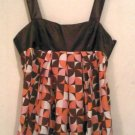 L large WOMEN'S DRESS TOP CLOTHES PARTY CLUB PINK brown tank shirt polyester