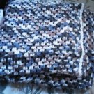 A full queen size hand-knit knitted blanket throw green blue white creme coffee color home accessory