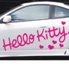 2 pink HELLO KITTY full body car decal sticker window house accessory gift fun family home decor