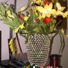 AS-IS GLASS BEAD VASE FLOWER HOME DECOR COLLECTIBLE