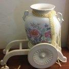 JAPAN FLOWER VASE POT CARRIAGE SET PEONY VINTAGE COLLECTIBLE DECORATIVE HOME DECOR