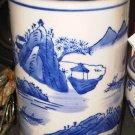 BIG CYLINDER BLUE WHITE VASE CHINA HOME DECOR DOOR DECORATIVE COLLECTIBLE VINTAGE