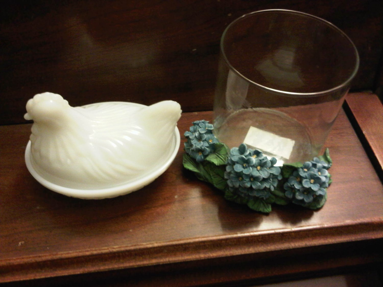 HYDRANGEA BLUE FLOWER CANDLE GLASS CUP HOLDER DECORATIVE COLLECTIBLE FIGURINE HOME