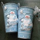 SNOWMAN PAIL GARDEN HOME DECOR PENCIL HOLDER PLANT CAN POT METAL