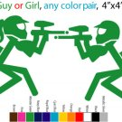 2 paintball decals GUY or GIRL car decal sticker home sport