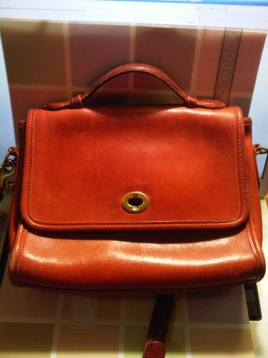 authentic Red brown Leather COACH Willis Shoulder Bag Purse handbag office women's accessory