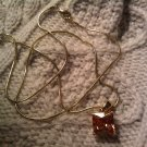 orange crystal necklace long pendant VINTAGE JEWELRY WOMEN'S FASHION CLOTHING ACCESSORY