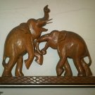 WOOD STATUE ELEPHANT CARVING HOBBY HOME DECOR DECORATIVE COLLECTIBLE PAIR