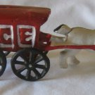 "Ice Wagon Cast Iron Horse & Buggy 7.25"" x 3"" vintage decorative collective 50's figurine toy"