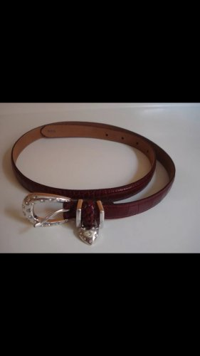 Brighton brown leather belt silver tone heart crystals women's accessory clothing fashion