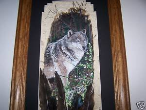 Standing Wolf Wild Turkey Feathers Hand Painted Feather