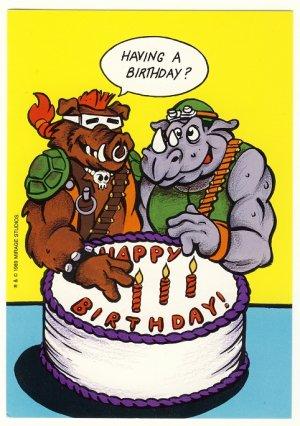 Bebop Rocksteady Birthday Greeting Card Ninja Turtles Tmnt