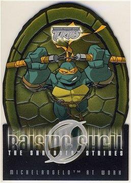 TMNT Fleer Series 2 Trading Card - Raising Shell #05 Michelangelo - Shredder Strikes - Ninja Turtles