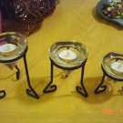 Candle Holders- Glass w/black iron tea lights