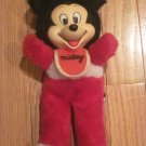 "Vintage Mickey Mouse 10"" Rubber Face Doll Wearing Bib Korea #02230997"
