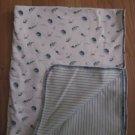 Vintage 2000 Gymboree Reversible Swiming Turtles & Blue, Green & Yellow Stripes Blanket