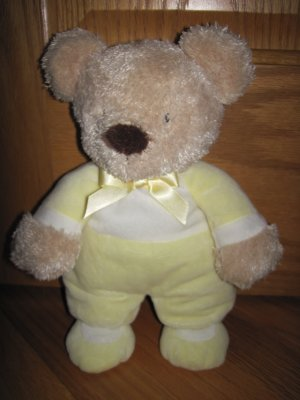 Carters OS Plush Tan Beige Teddy Bear in Yellow and White Pajamas with Yellow Satin Bow