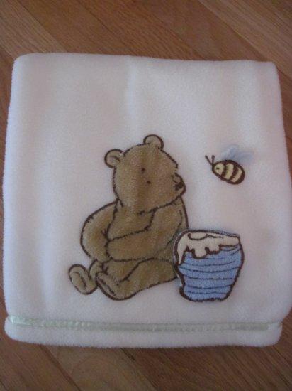 Classic Winnie the Pooh Cream Ivory Fleece Baby Blanket  Pooh with Honey Pot & Bee