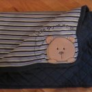 Carters Little Guy on the Go Quilted Blue Stripe Teddy Bear Baby Blanket