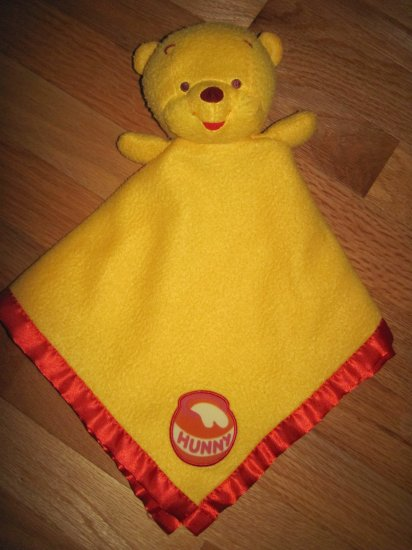 Avon Creative Designs Winnie The Pooh Bear Yellow & Red Baby Security Blanket Lovey with Hunny Pot