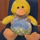 Plush 13 Yellow Duck wearing Blue Vest Green Polka Dot Pants & Easter Egg Bow
