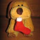 Ty Pluffies Puppy Dog named Goodies with Christmas Stocking Tylux 2004 Retired
